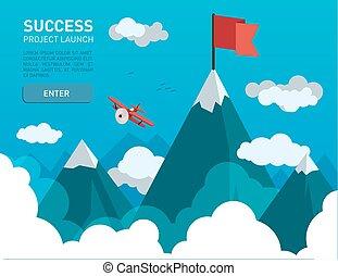 montanha, bandeira, paisagem