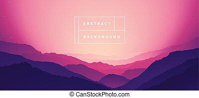 montanha, bg, gradiente, abstratos, vetorial, paisagem
