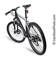 montanha, bicicleta, bicicleta, branco, fundo