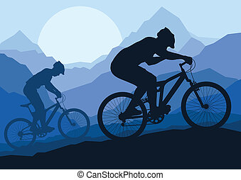 montanha, bicicleta, natureza, bicicleta, selvagem, cavaleiros