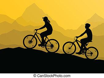 montanha, bicicleta, natureza, cartaz, ciclistas, ativo, ...