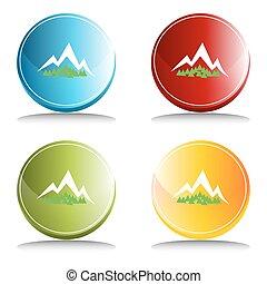 montanha, botão, floresta