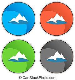montanha, botão, lago