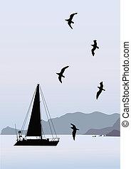montanha, bote, mar, natureza