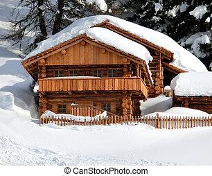 montanha, branca, chalé, neve