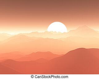 montanha, céu, contra, gama, pôr do sol, nebuloso, 3d