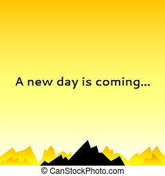 montanha, céu, spikes., manhã