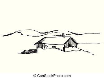 montanha, cabanas, madeira, ilustração, vetorial, paisagem