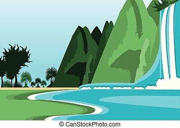 montanha, cachoeira, cena, paisagem, natureza