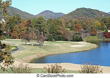 montanha, campo golfe
