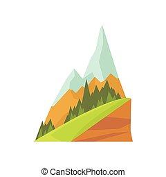 montanha, capim, coloridos, nevado, picos, natureza, isolado, apartamento, dois, desenho, paisagem, vector., desenhado, hill., verde, mão, caricatura, element.
