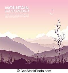 montanha, capim, lago, paisagem, enorme