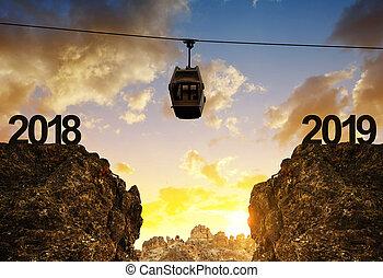 montanha, carro cabo, em movimento, ano, novo, 2019.