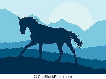 montanha, cavalo, vetorial, pôr do sol, selvagem, paisagem
