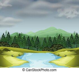montanha, cena, com, rio
