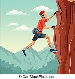 montanha, cena, equipamento, sem, escalar rocha, paisagem, homem