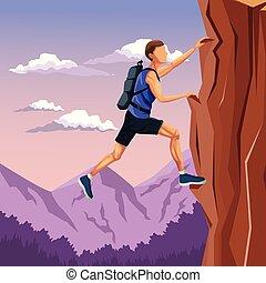montanha, cena, escalar rocha, paisagem, homem