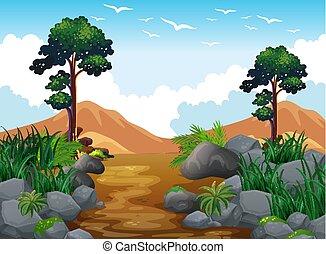 montanha, cena, floresta, rocha