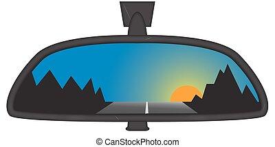 montanha, chunky, pôr do sol, espelho, vista traseira