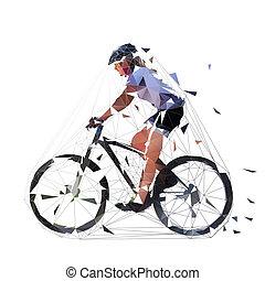 montanha, ciclismo mulher, biking, ilustração, biker., polygonal, baixo, femininas, mtb, vista., lado