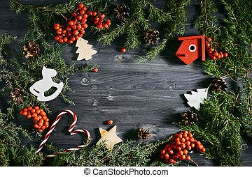 montanha, cinza, topo, brinquedos, tabela, Natal, vista