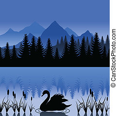 montanha, cisne, ilustração, lake., vetorial, pretas