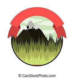 montanha, coloridos, paisagem, fita