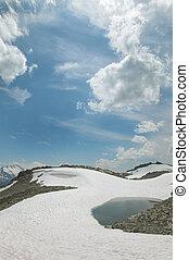 montanha, columbia., britânico, lake., lata, whistler, paisagem