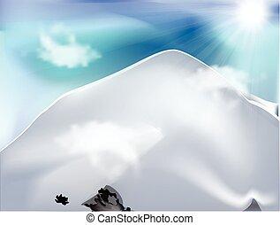 montanha, com, nuvens, em, dia ensolarado