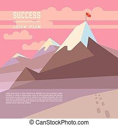 montanha, conceito, sucesso, negócio, bandeira, vetorial, realização