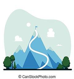 montanha, conceito, sucesso, topo, bandeira, vetorial