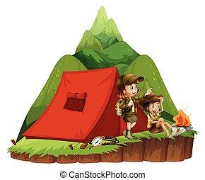 montanha, crianças, dois, acampamento