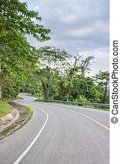 montanha, curva, estrada, estrada