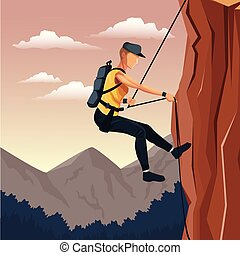 montanha, descida, cena, couraça, escalar rocha, paisagem, homem