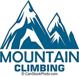 montanha, desenho, aventura subobe, desporto, emblema