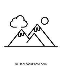 montanha, desenho, ilustração, vista