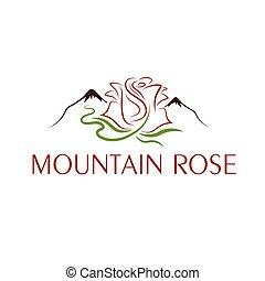 montanha, desenho, modelo, rosa
