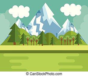 montanha, desenho, paisagem