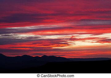 montanha, deserto mojave, paisagem, amanhecer