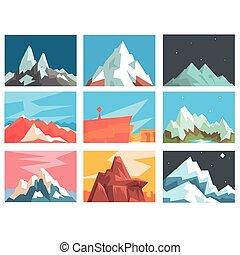 montanha, diferente, jogo, Picos, montanhas, ápices, Ilustração, vetorial, zonas, geográfico, paisagem