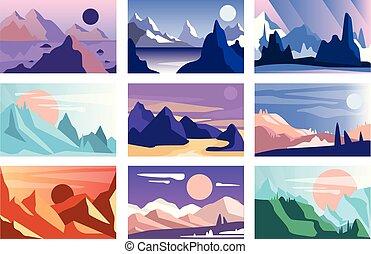 montanha, diferente, natureza, jogo, ano, cenas, ilustração, vetorial, tempo, dia, paisagem