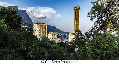montanha, edifícios, central, foros, gama, parte, crimean,...