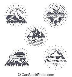 montanha, esboço, jogo, montanhas, vindima, etiquetas, linhas, silhuetas, vetorial, retro, trendy, logotipo, style.