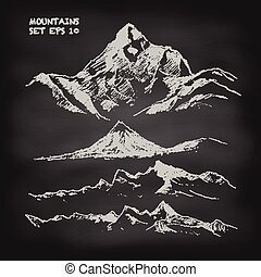 montanha, esboço, jogo, vindima, vetorial, chalkboard