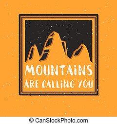 montanha, esboço, quote., ilustração, chamando, vetorial, texture.