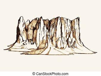 montanha, esboço, rocha