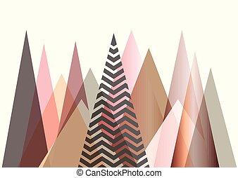 montanha, estilo, abstratos, escandinavo, desenho, paisagem