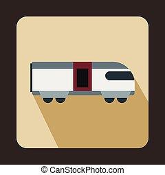 montanha, estilo, apartamento, suíço, trem, ícone
