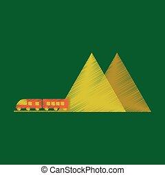 montanha, estilo, apartamento, trem, sombreado, ícone