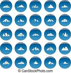 montanha, estilo, jogo, azul, ícones, simples, vetorial